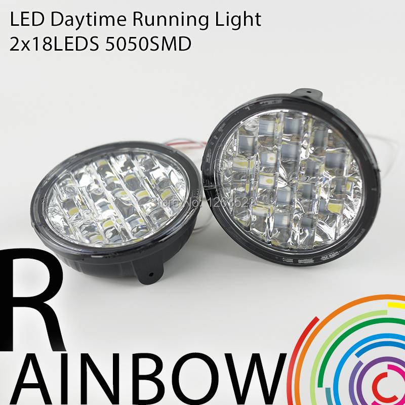 High Power 2Pcs/Set 18 Led DC12V 18W DRL Daytime Running Light E4 Auto Fog Lamp Car Light Source White Free Shipping(China (Mainland))