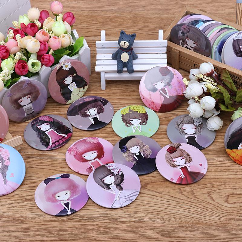 RANDOM Girl Mini Pocket Makeup Mirror Cosmetic Compact Mirrors Espelho De Maquiagem Espejos De Bolsillo(China (Mainland))