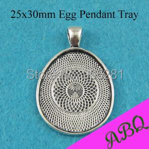 25x30mm Antique Silver Egg Pendant Setting, egg Pendant Tray, Glass Cabochon Bezels(China (Mainland))