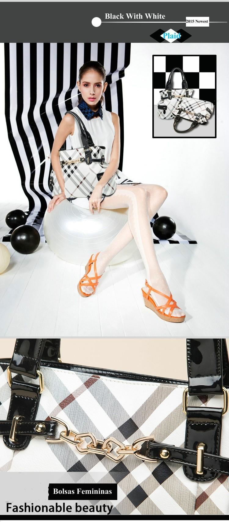 2015 New Fashion Luxury Women Bolsas Femininas Genuilne Leather Black