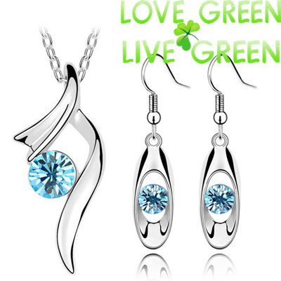 2014 hot sales factory brand bridal 18K GP import zircon pendant necklace earrings fashion jewelry sets 8 colors 6389(China (Mainland))