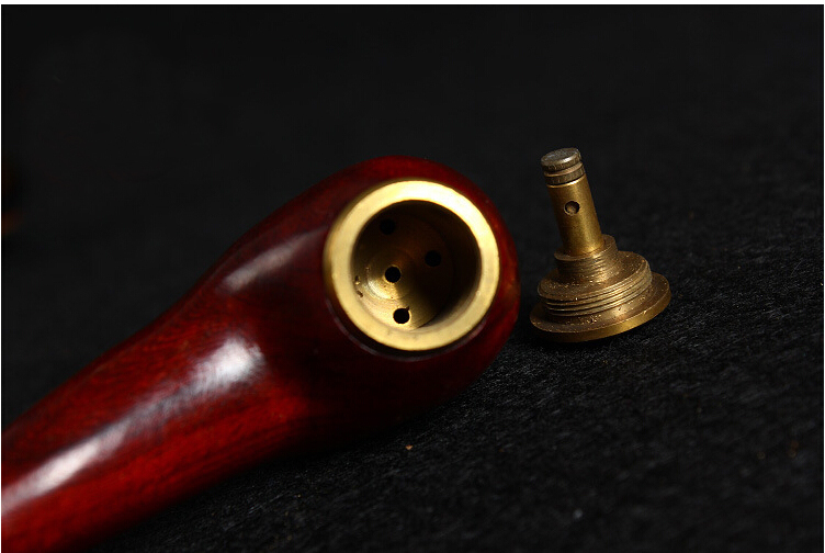 High Quality Wood Tobacco Smoking Pipes with Copper Filter Cigarette Holder