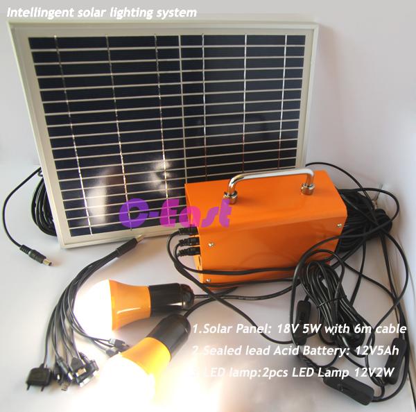 Home solar kit solar power system 18V 5W solar energy panel with battery 2pcs led bulb USB for mobilephone(China (Mainland))