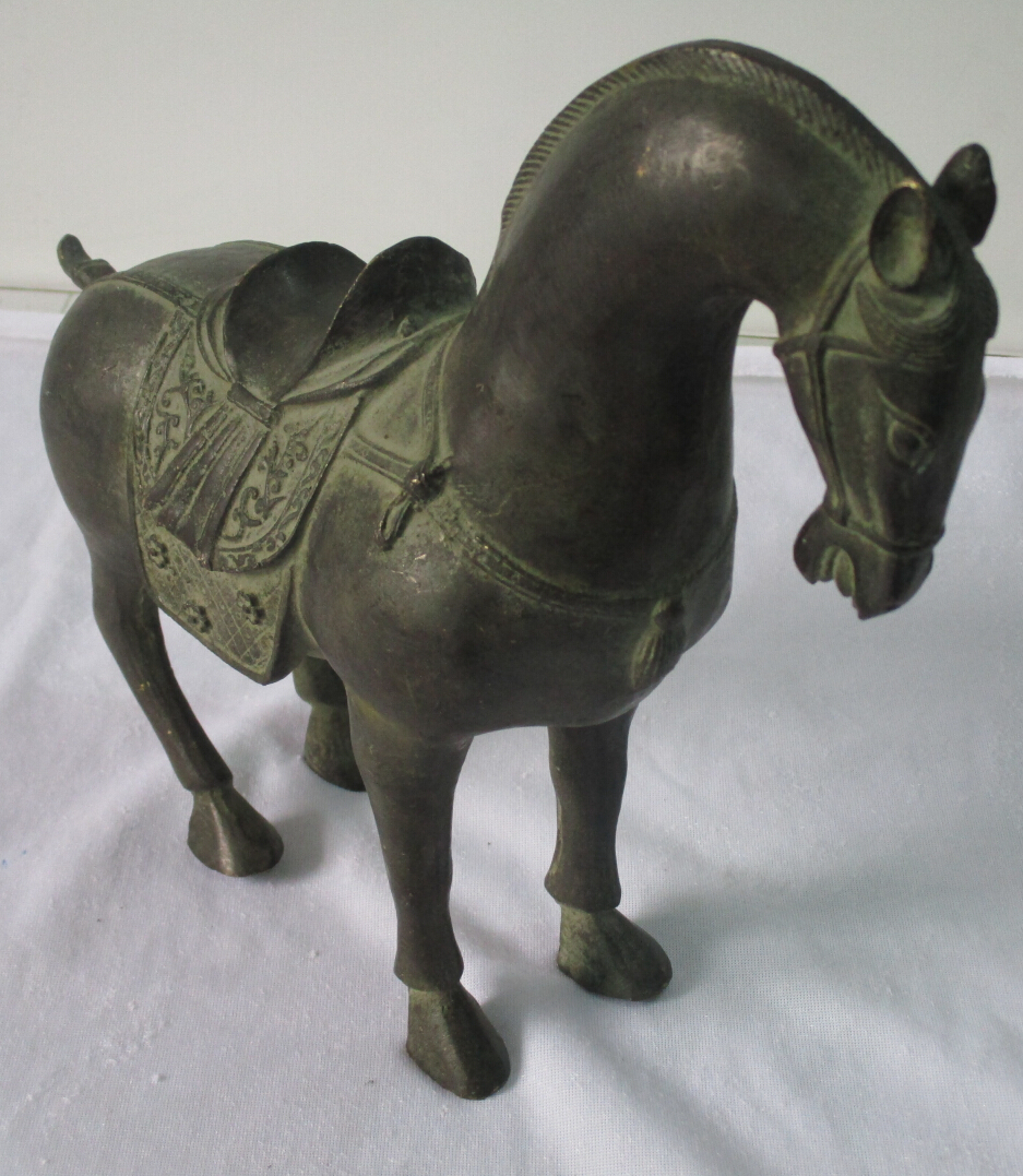 Rare Chinese old bronze carved Tang Dynasty Horse Sculpture ,1 pair=2piece(China (Mainland))