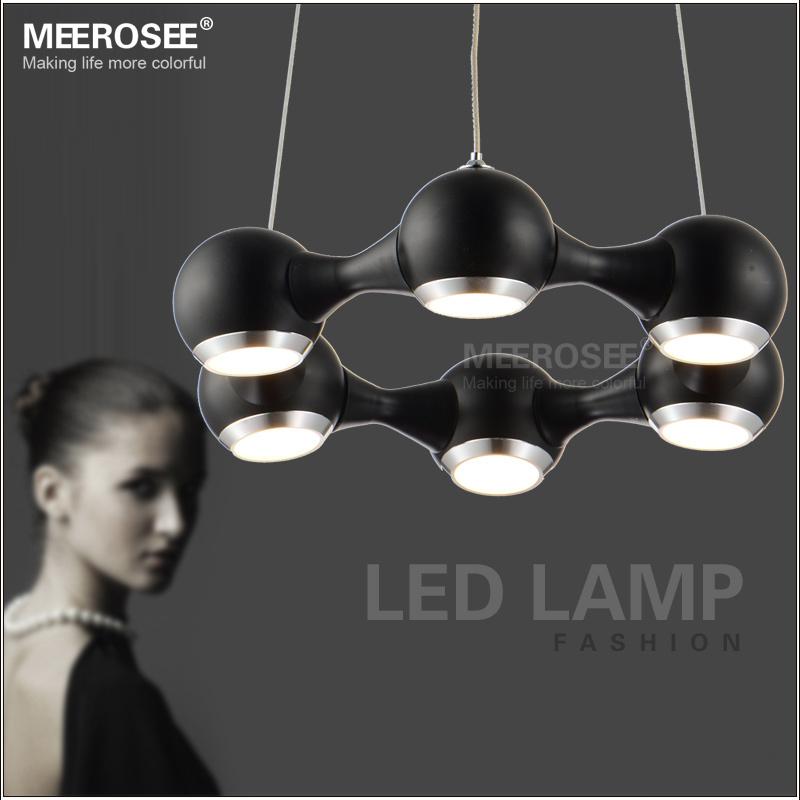 Modern LED Pendant Lights Restaurant hanging lamp Black Metal Light Fixture Chrome LED chandelir Kroonluchter with 6 lamps(China (Mainland))