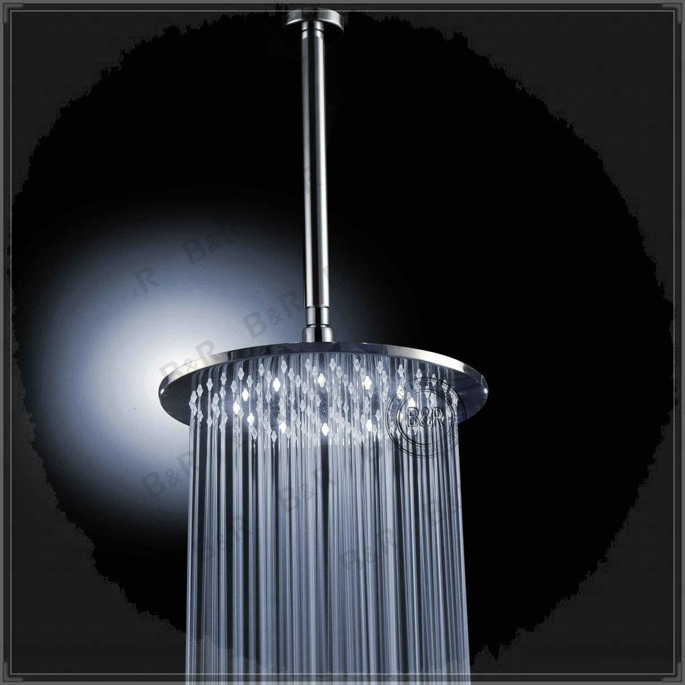 """Bathroom Brass 16"""" Round LED Shower Head White with Arm LED Shower Set Romantic Spa Set LED160000WA taps stainless steel(China (Mainland))"""