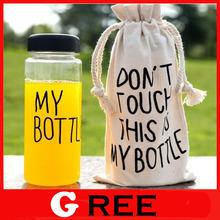 My bottle manufacturers, wholesale gift bags Korean plastic water bottles sport bike cup lemon juice + Bag