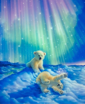 AZQSD 3d Полный Алмазов Вышивки Home Decor Алмазы Мозаика Живопись Вставить Картину Квадрат Дрель Северное Сияние белого медведя d018