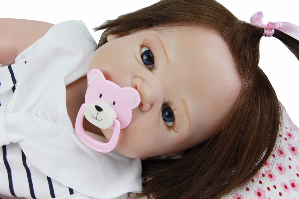 23 Inch Lifelike Girl Doll Reborn Baby Full Silicone Vinyl Realistic Princess Dolls Rooted Human Hair Babies Toy With Pacifier