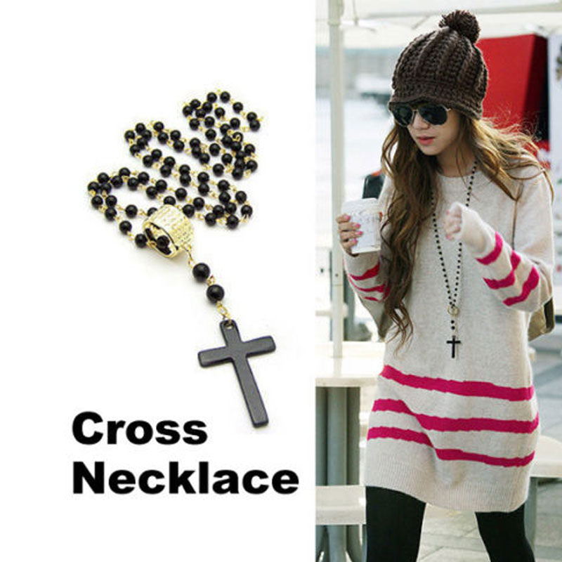 Cool Mens Women Cross Pendant Black Rosary Beads Necklace Chain Fashion(China (Mainland))