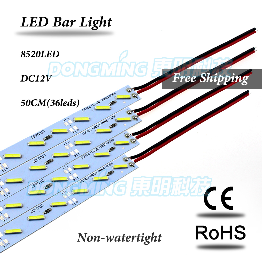 20pcs/Lot 36Leds Under Cabinet Lighting 50cm Length Non-waterproof IP22 12V SMD 8520 LED Hard Rigid, LED Rigid Strip Light 50cm(China (Mainland))