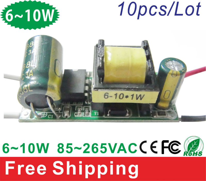 10pcs/lot 85-265VAC 6~10W LED Driver Lighting Transformers For E27/GU10/GU5.3/E14 Bulb LED lamp high quality and free shipping(China (Mainland))