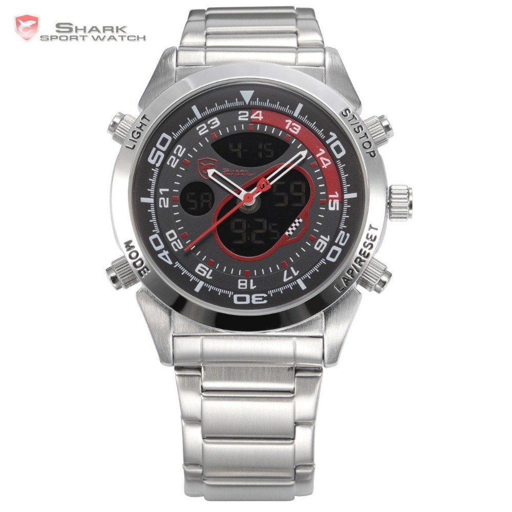 Snapper Shark Sport Watch Men Stainless Full Steel Dual Movement Male Black Red Dial Clock Outdoor Digital Wristwatch / SH149(China (Mainland))