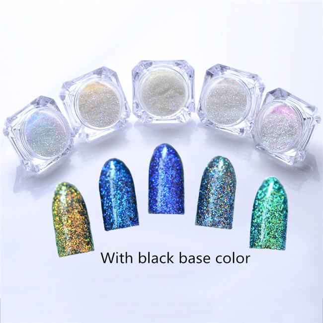 1g 1 Box Shinning Nail Glitter Powder Dust Nail Art Chrome Pigment Glitters for Nail Art Decoration – 5 Colors Available