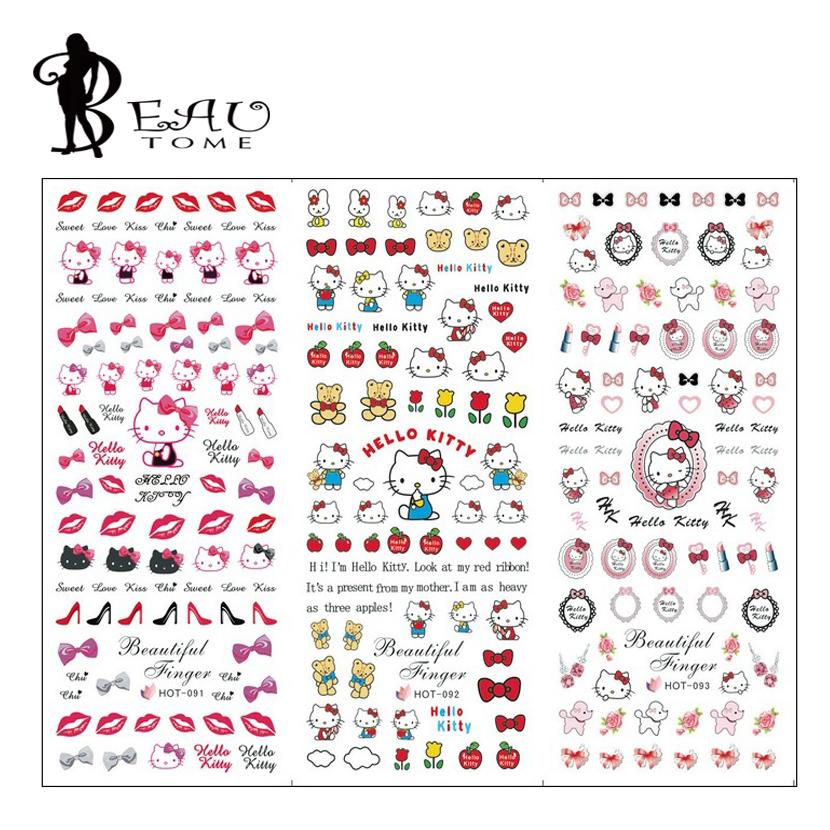 1Sheet 2015 New Hello Kitty Nail Stickers Cute Cartoon Nail Art Decal Decorations Water Transfer Nail Design Waterproof Stickers(China (Mainland))