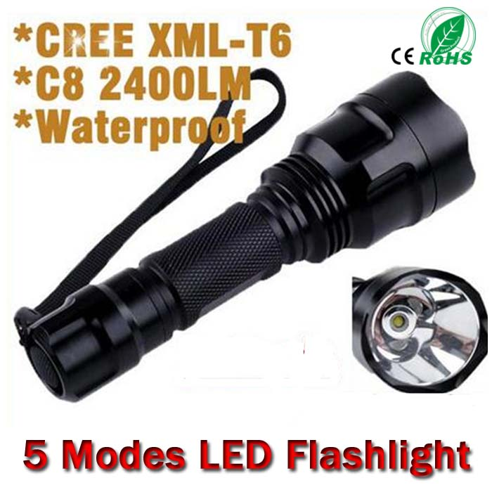 Super Bright C8 Cree XM-L T6 5-Mode 2400LM Camping Led Flashlight Torch Light Lamp for 1*18650 battery Free Shipping<br><br>Aliexpress