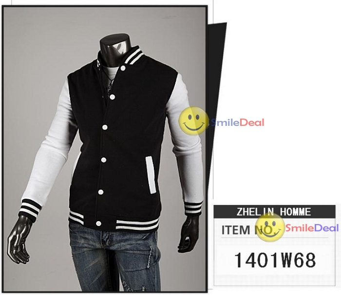 Men Jacket Fashion Slim Fit Spliced Cotton Pu Leather