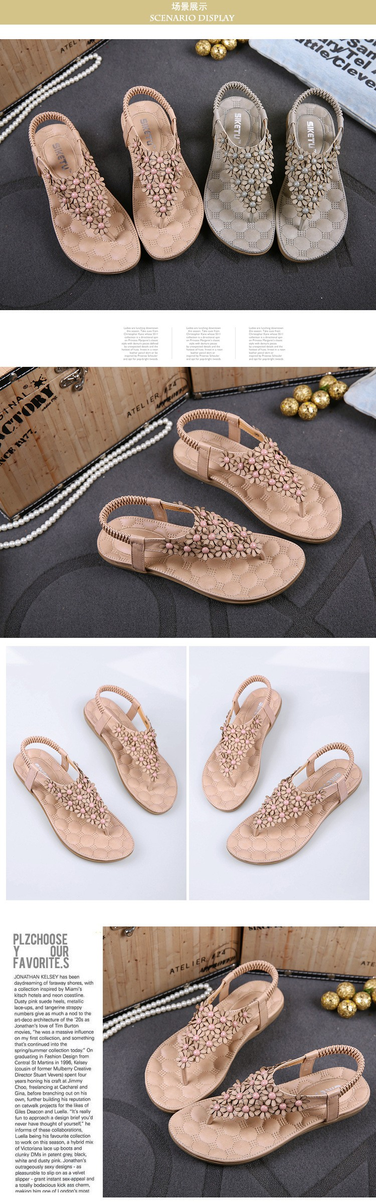 Bohemia Womens Sandals Summer 2016 Fashion Elastic Band Flip Flops Women Beach Sandals Flowers Flat Slippers Sandale Femme NX70