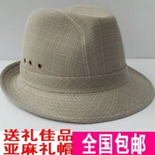 Breathable linen big fedoras jazz hat Men quinquagenarian hat