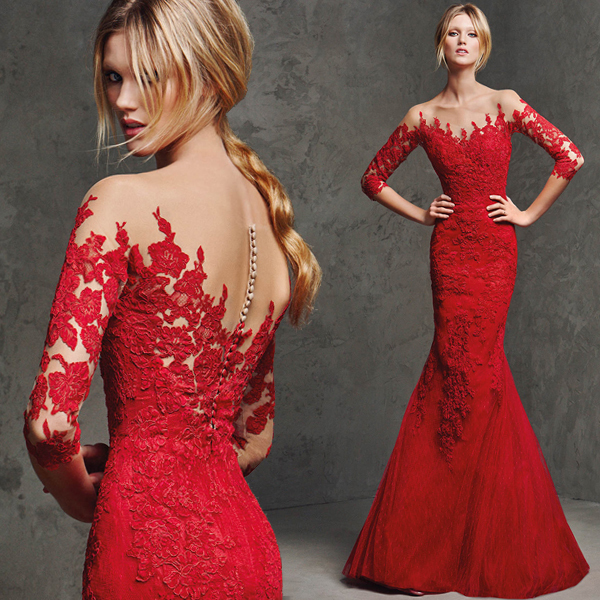 Elegant Hollow Out Back Boat Neck Half Sleeve Red Evening Dress 496(China (Mainland))