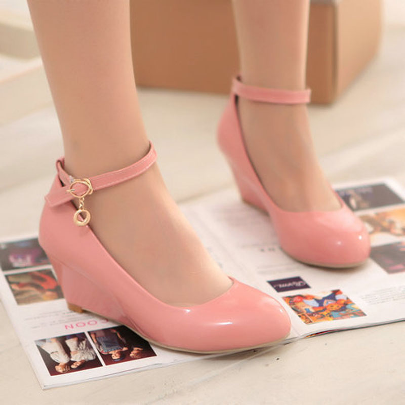 drop shipping autumn new arrived ankle strap wedges patent leather pumps for women T1YYT-516 Buckle med heel spring pumps<br><br>Aliexpress