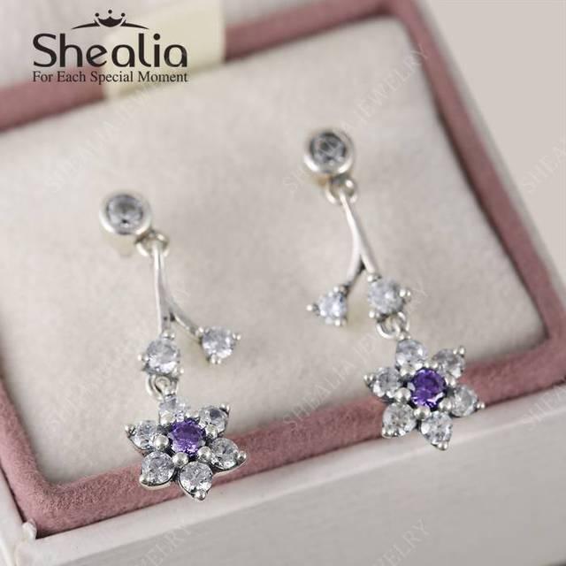 2016 весной новый Forget Me Not серьги для женщин с ясно и фиолетовый CZ 925 серебро цветок серьги EAR047
