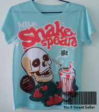 Vintage Retro Rock&Roll Punk T-shirt Top Tee Blue Skeleton Milk Shake Speare Strawberry Cup Shakespeare Drink 0014(Hong Kong)