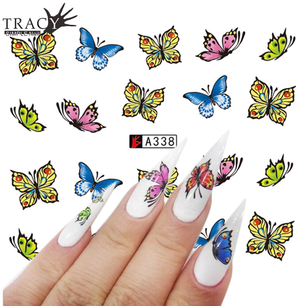 Наклейки бабочек на ногтях