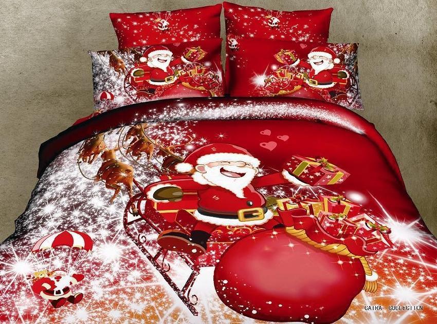 christmas gift Santa Claus red 4pcs 3d bedding set queen size doona duvet/quilt covers pillowcases bed Linen sets cotton