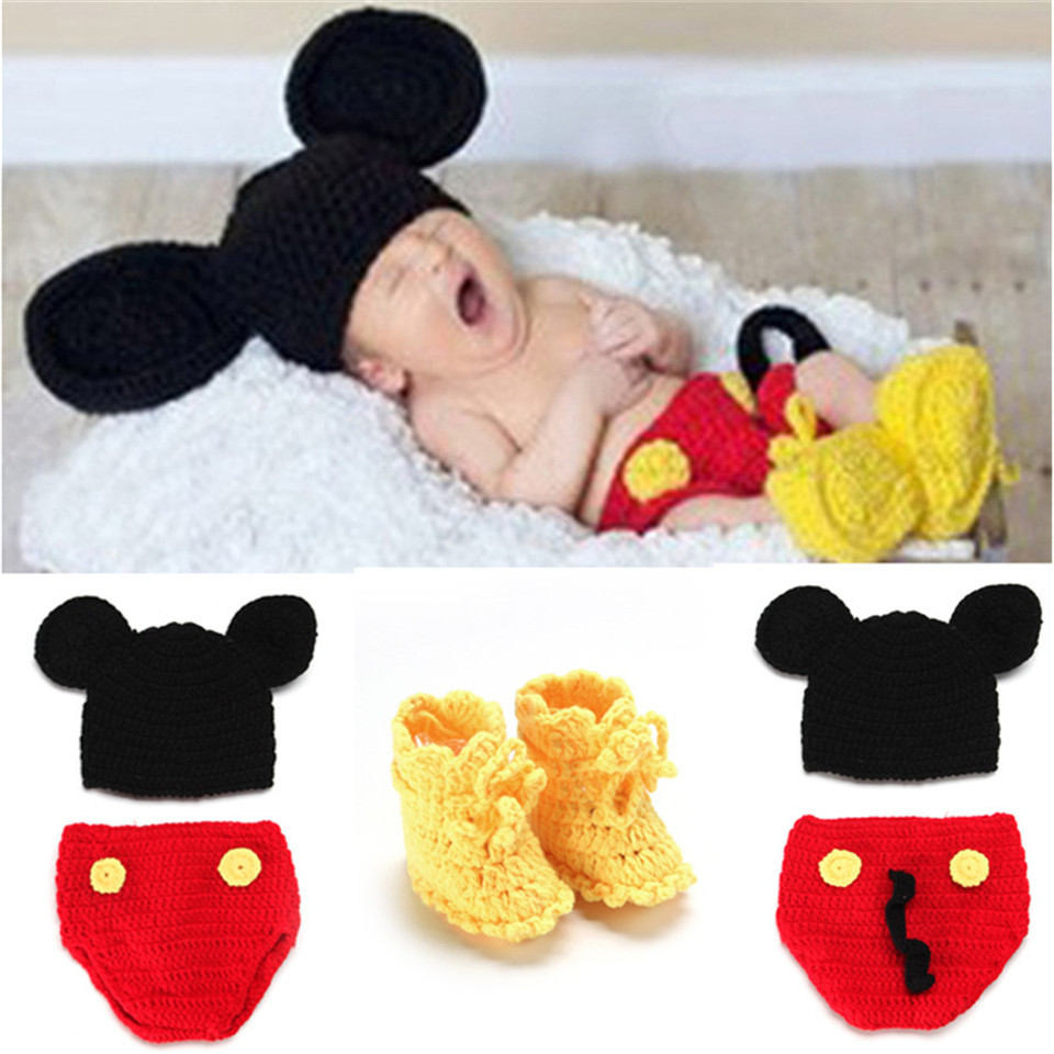 Crochet BABY Mickey Hat Shorts& Shoes Set Infant Baby Crochet Cartoon Photo Props Newborn Coming Home Outfits MZS-14016-J(China (Mainland))