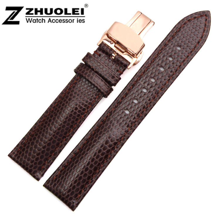 22mm Brown Genuine Leather Watch Bands Straps Bracelets Rose Gold Depolyment Clasp Buckle Free Shipping<br><br>Aliexpress