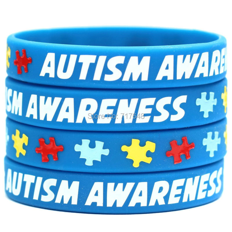 200pcs a lot autism awareness 5 wristband silicone bracelets wrist bands bangle free shipping by FEDEX express(China (Mainland))