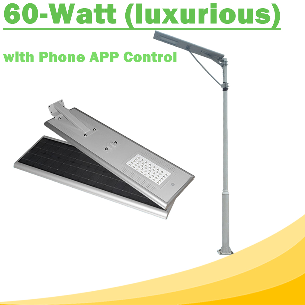60W All In One LED Solar Street Lights Waterproof Outdoor Easy Installation12V LED Lamp with Phone APP Control Luxurious Y-SOLAR<br><br>Aliexpress