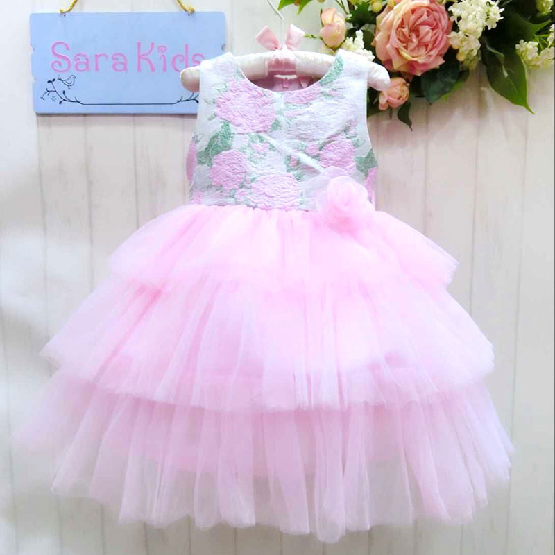 Wholesale voile  baby girls dress kid girls sleeveless ball gown dress princess dress    20140767