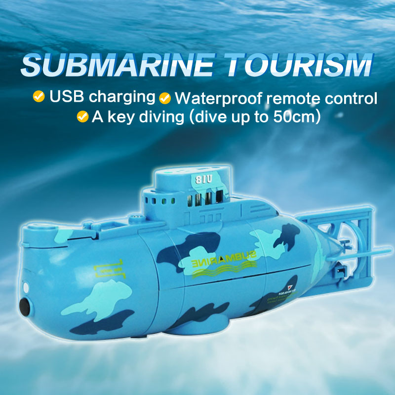 Create Toys Mini RC Submarine 6CH Remote Control Toy With USB Cable Blue Yellow Christmas Children Kids Gift