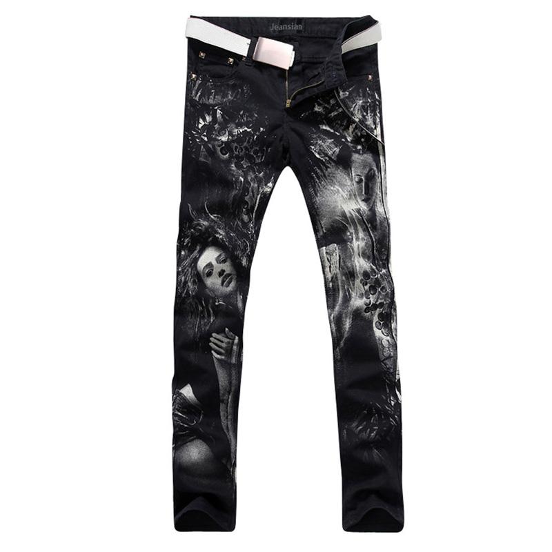 2016 new fashion straight leg jeans long men male printed denim pants cool cotton designer good quality brand trousers  MJB022