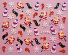 XF373 Free Shipping Brand 3D Design Tip Nail Art Christmas Nail Stickers Decals Carving Nail Art Decorations
