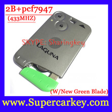 Free Shipping  1pcs  Excellent Quality Green Blade New Items  2 Button Smart Card For Renault Laguna with pcf7947 Chip  433MHZ(China (Mainland))