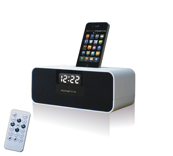 v6 lcd digital fm radio dual alarm clock music dock charger station stereo speaker for iphone 4. Black Bedroom Furniture Sets. Home Design Ideas