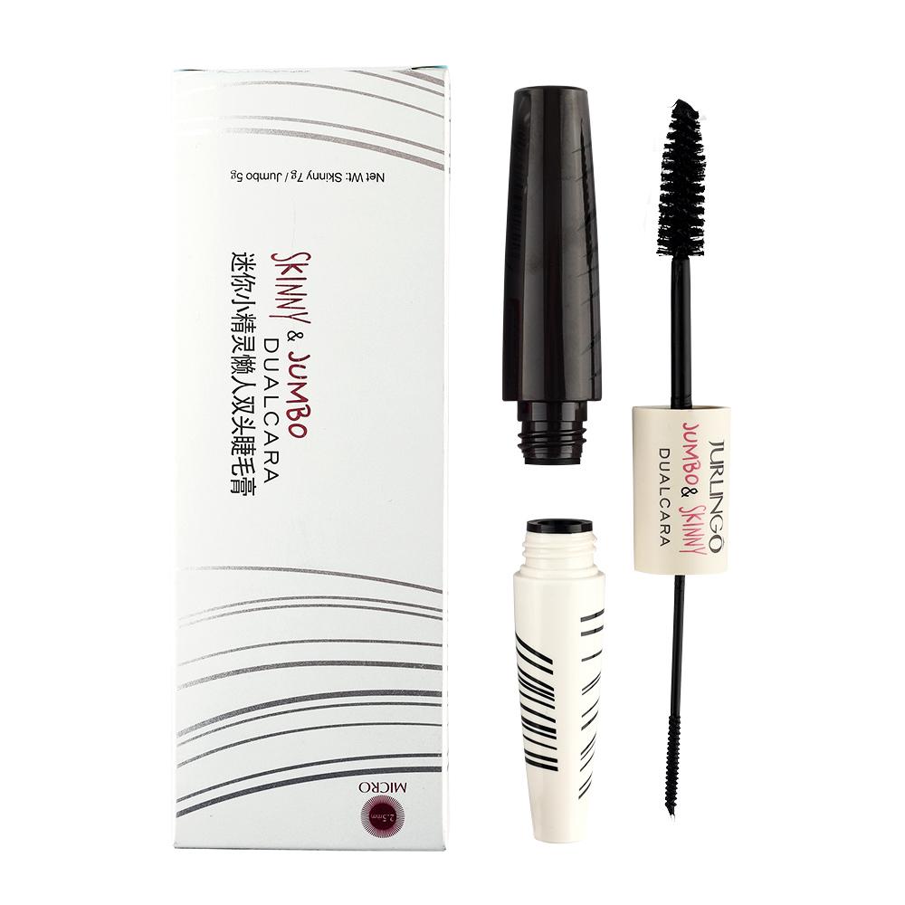 Brand Makeup 2.5mm Dual Curling Eyelashes Mascara 3D Fiber Lashes Extension Colossal Lengthening Waterproof Volume Cosmetics(China (Mainland))