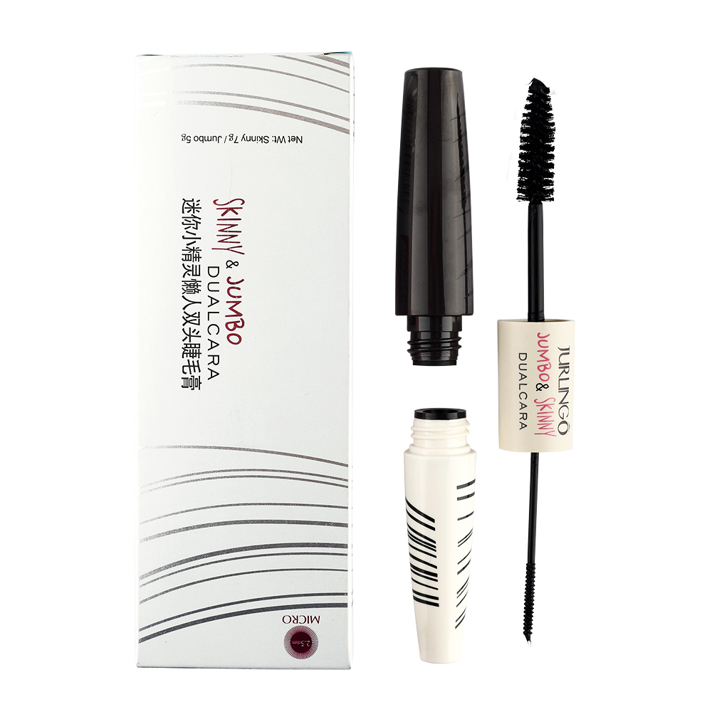 JURLINGO Brand Makeup Double Head 2.5mm Dual Curling Eyelashes Mascara 3D Fiber Lashes Colossal Lengthening Waterproof Volume(China (Mainland))
