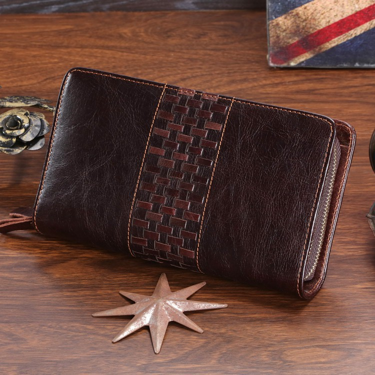 8021C 2014 New Classic Coffee Vintage Real Leather Organizer Mens Clutch Wallet Case Hand bag Key Purse<br><br>Aliexpress