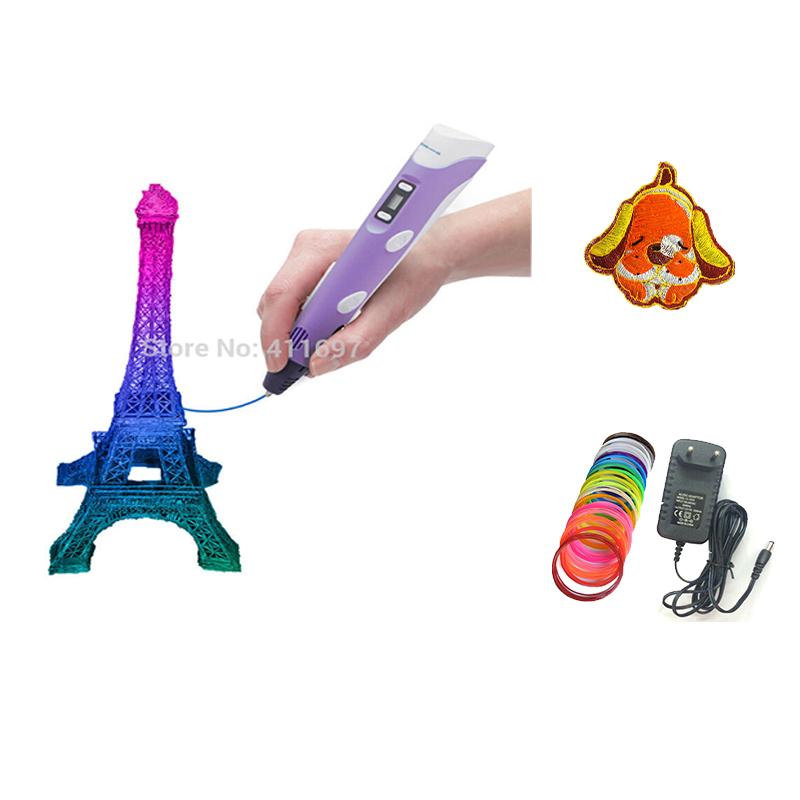 3d printer pen Drawing Pen With 20 Color 5M ABS Filament Arts LED Printer 3d pen lix For Kids Gifts 3D Printer Parts(China (Mainland))