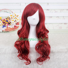 Princess Ariel Curly Wave Wine Red Cosplay Wig CC66B Free Shipping+a wig cap(China (Mainland))