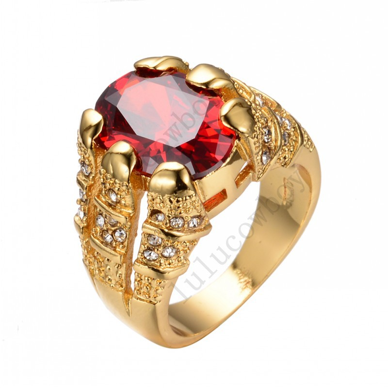 New Fashion Big Oval Red Male Wedding Ring Men's Ruby Jewelry 14KT Yellow Gold Filled Promise Engagement Rings For Men RY0005(China (Mainland))