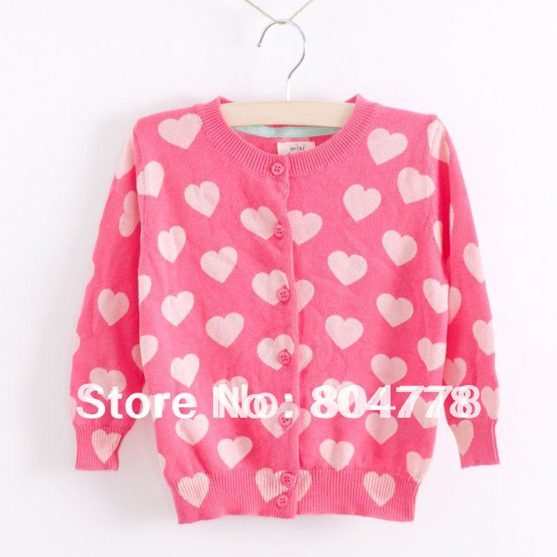 Hot sales! lovely pink heart long sleeve children girls cardigan automn knitted sweater<br><br>Aliexpress