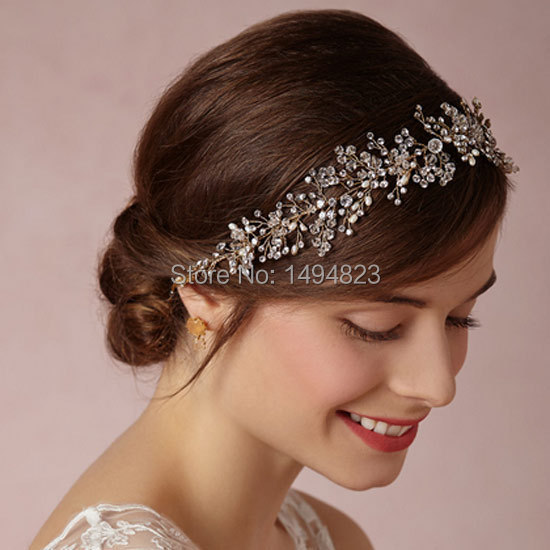 Luxury Bride crystal flowers headband headdress wedding Hair Barrette high-end Rhinestone Crystal rosette hair band decoration(China (Mainland))