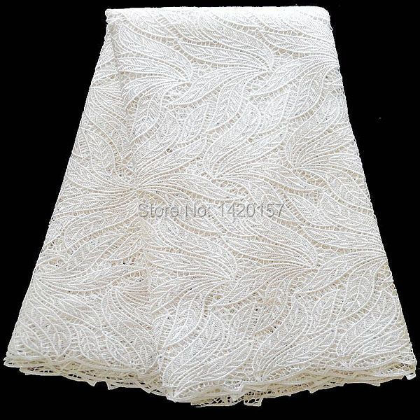 Free shipping stones nigerian white lace fabric african for White lace fabric for wedding dresses