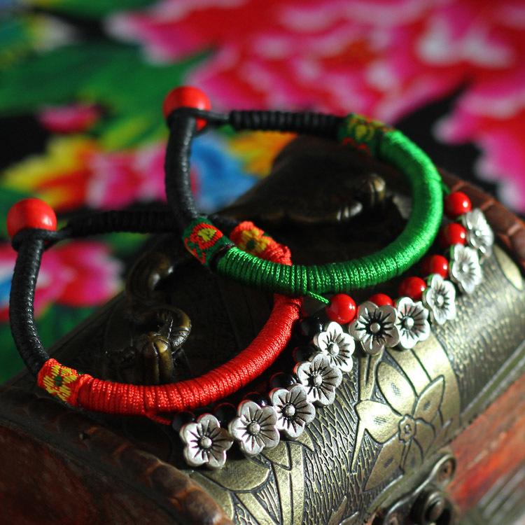 women ethnic flowers bracelet&bangle,handmade braided vintage torques bangle,fashion tibetan silver charm cuff bracelt(China (Mainland))