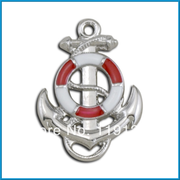 2014 fashion design rhodium plated red enamel life ring with anchor trendy charms(China (Mainland))